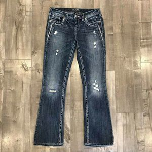 Silver Aiko Bootcut Embellished 27x31